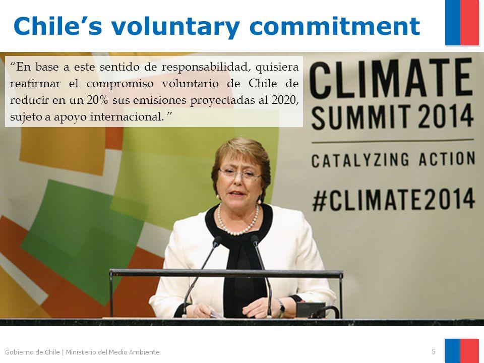 Gobierno de Chile | Ministerio del Medio Ambiente 5 En base a este sentido de responsabilidad, quisiera reafirmar el compromiso voluntario de Chile de reducir en un 20% sus emisiones proyectadas al 2020, sujeto a apoyo internacional.