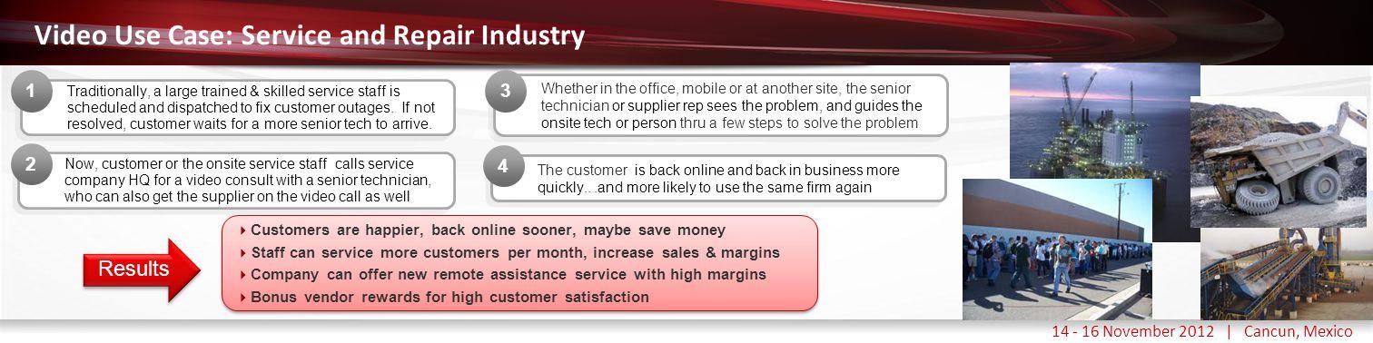 Haga clic para modificar el estilo de título del patrón 14 - 16 November 2012 | Cancun, Mexico Video Use Case: Service and Repair Industry Traditional