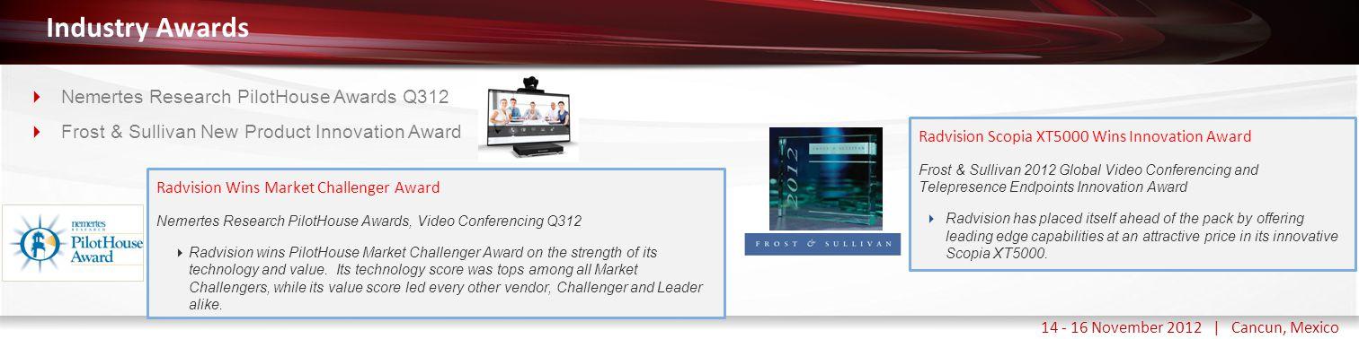 Haga clic para modificar el estilo de título del patrón 14 - 16 November 2012 | Cancun, Mexico Industry Awards  Nemertes Research PilotHouse Awards Q