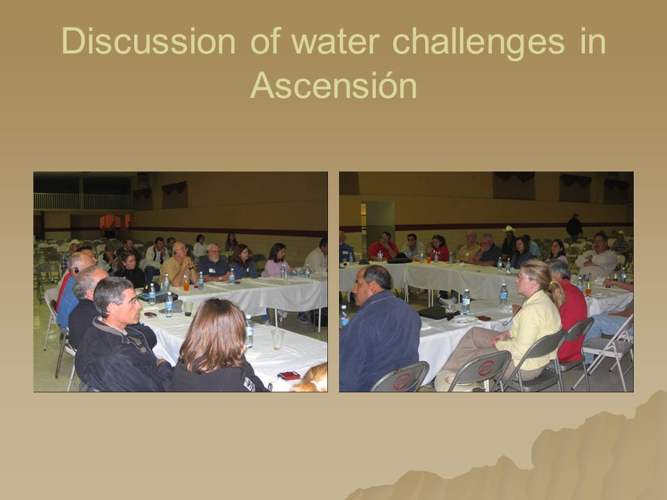 Discussion of water challenges in Ascensión