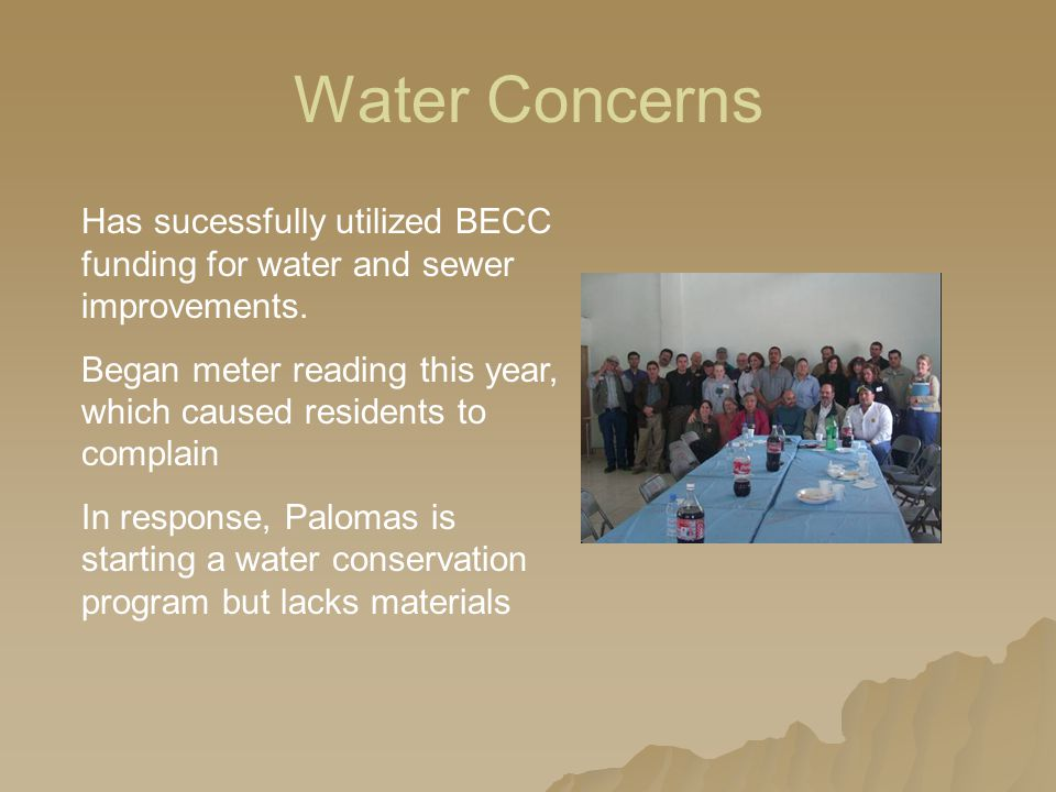 Water Concerns Has sucessfully utilized BECC funding for water and sewer improvements.