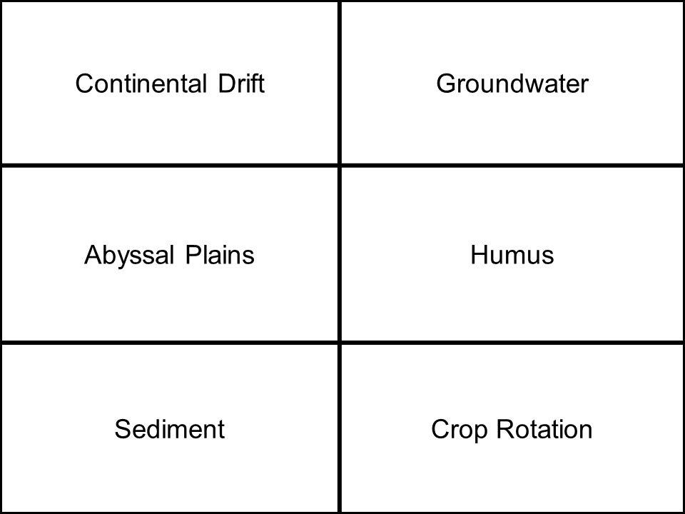 Continental DriftGroundwater Abyssal PlainsHumus SedimentCrop Rotation