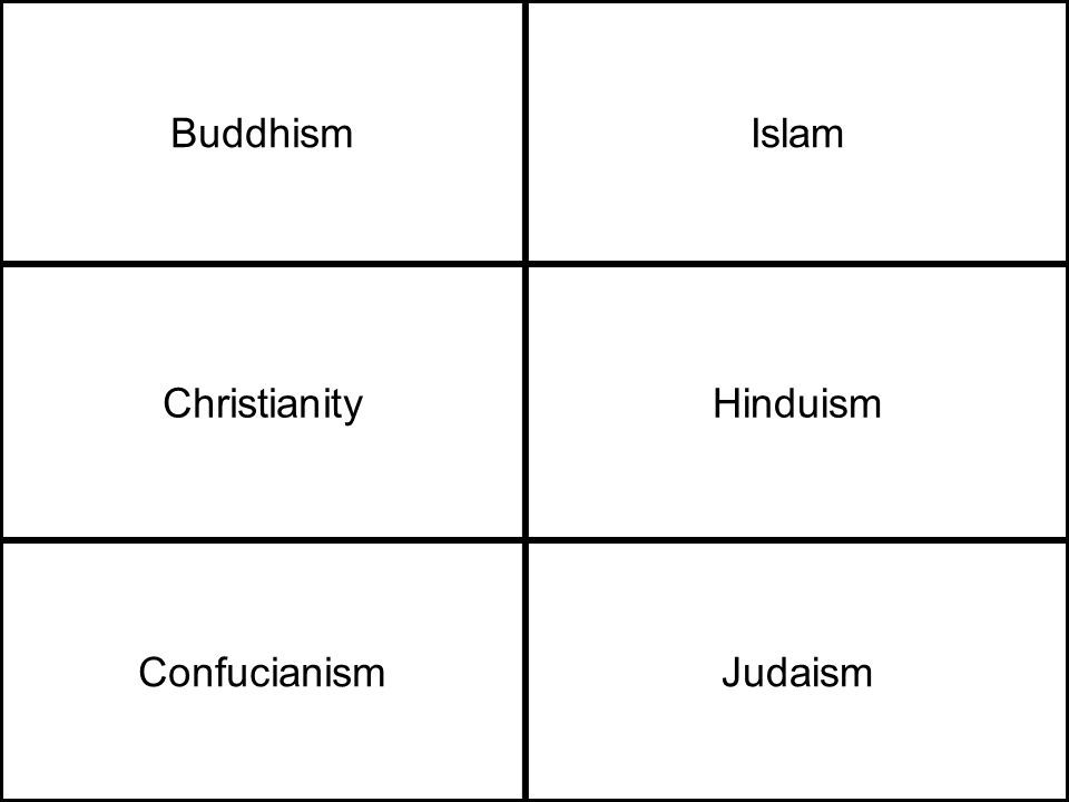 BuddhismIslam ChristianityHinduism ConfucianismJudaism