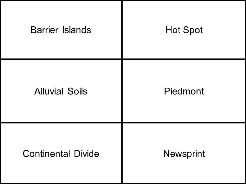 Barrier IslandsHot Spot Alluvial SoilsPiedmont Continental DivideNewsprint