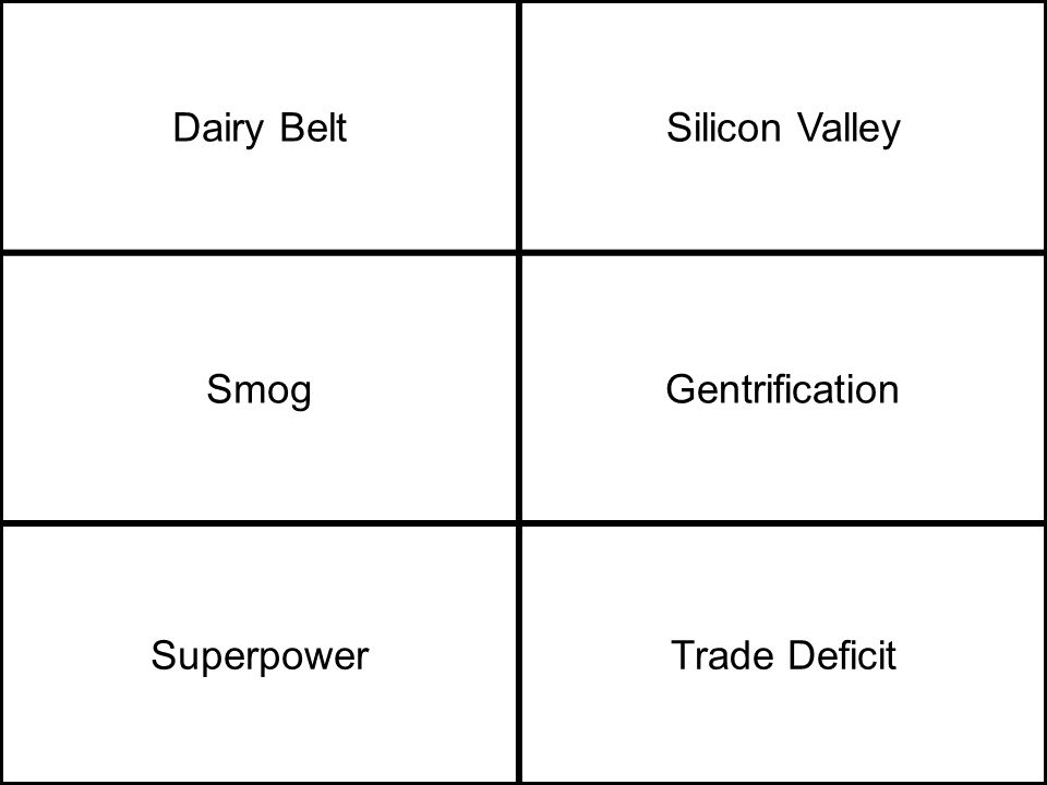 Dairy BeltSilicon Valley SmogGentrification SuperpowerTrade Deficit