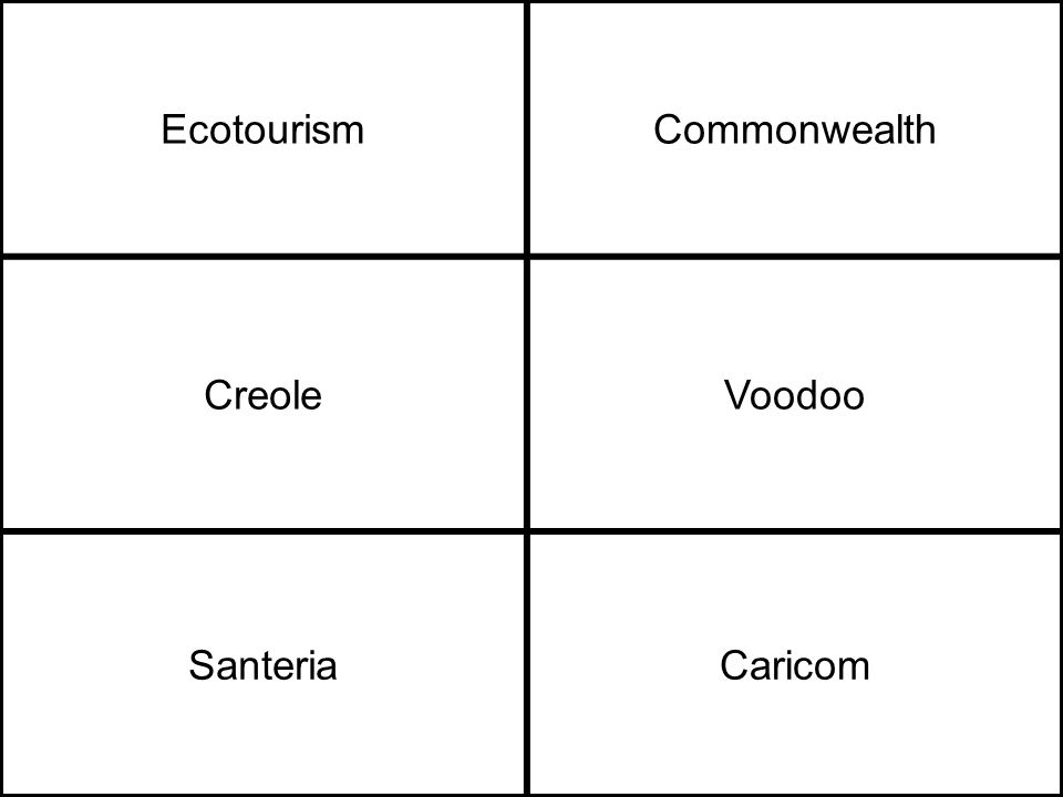 EcotourismCommonwealth CreoleVoodoo SanteriaCaricom