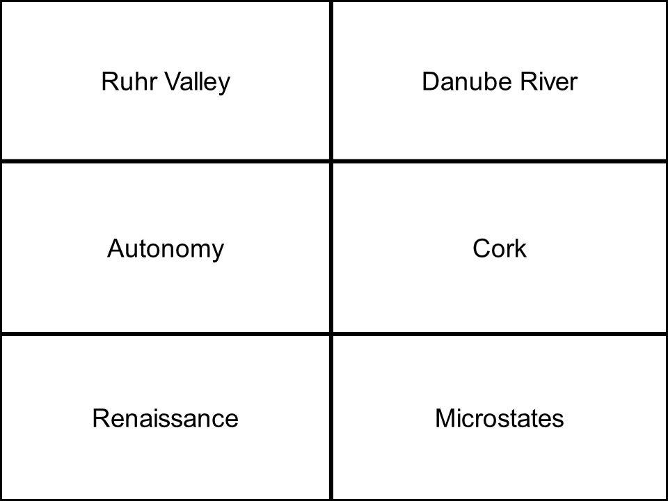 Ruhr ValleyDanube River AutonomyCork RenaissanceMicrostates