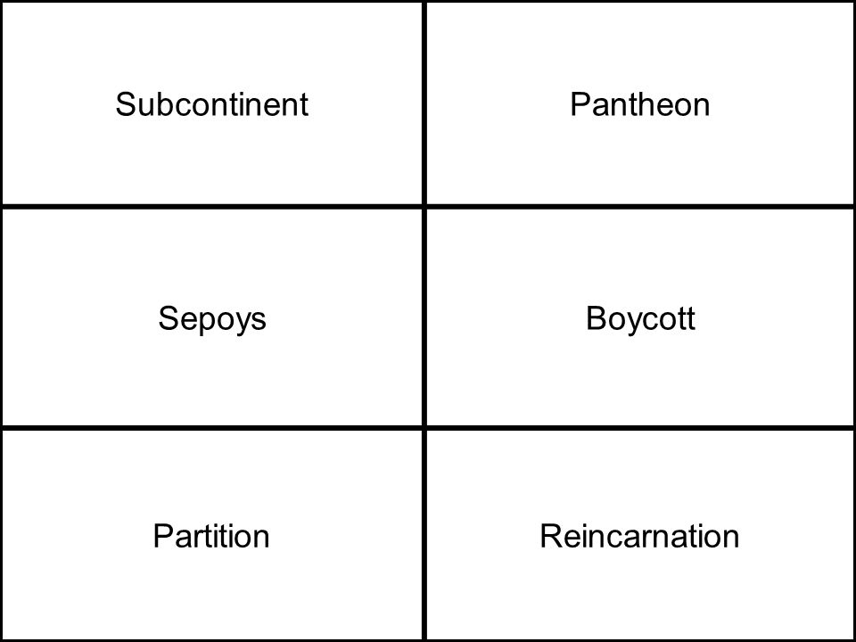 SubcontinentPantheon SepoysBoycott PartitionReincarnation