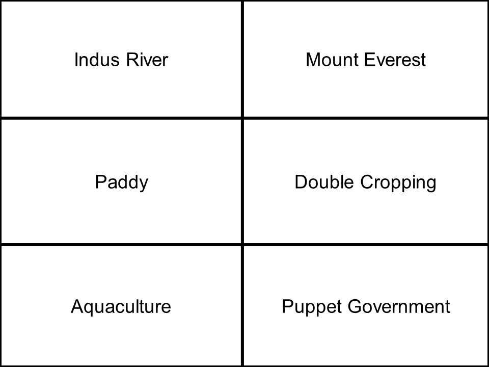 Indus RiverMount Everest PaddyDouble Cropping AquaculturePuppet Government