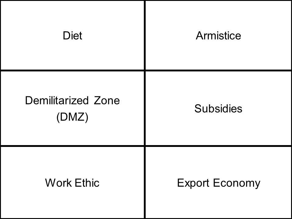DietArmistice Demilitarized Zone (DMZ) Subsidies Work EthicExport Economy