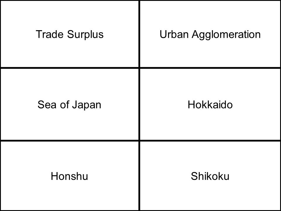 Trade SurplusUrban Agglomeration Sea of JapanHokkaido HonshuShikoku