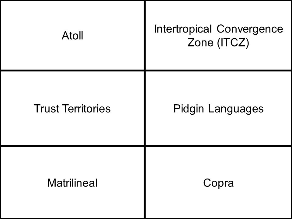 Atoll Intertropical Convergence Zone (ITCZ) Trust TerritoriesPidgin Languages MatrilinealCopra