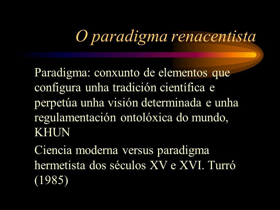 O paradigma renacentista Paradigma: conxunto de elementos que configura unha tradición científica e perpetúa unha visión determinada e unha regulamentación ontolóxica do mundo, KHUN Ciencia moderna versus paradigma hermetista dos séculos XV e XVI.