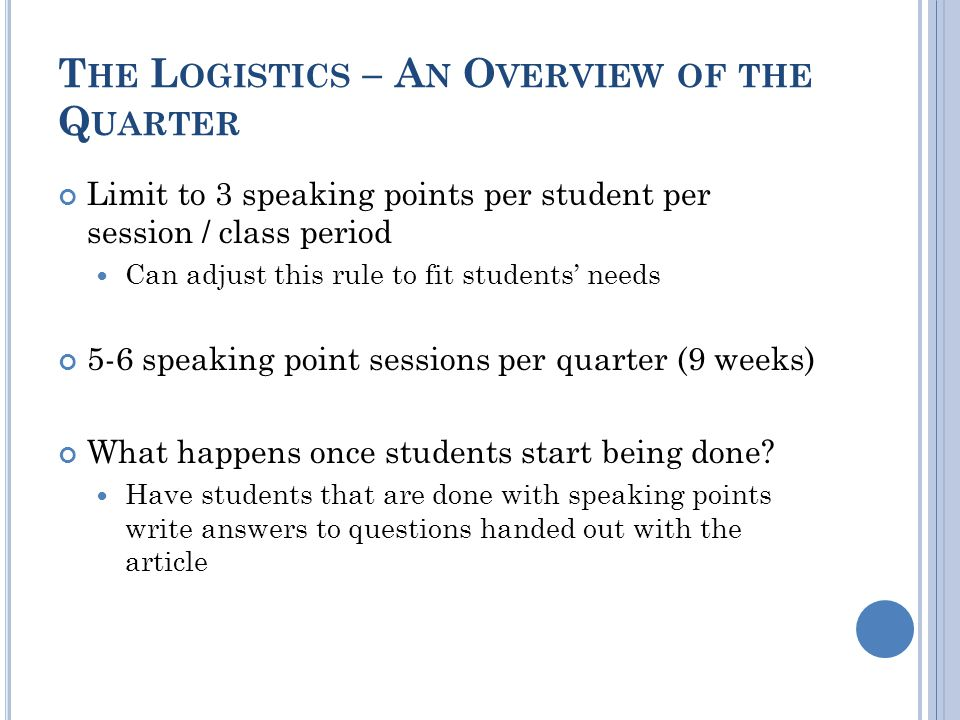 T HE L OGISTICS – A N O VERVIEW OF THE Q UARTER Limit to 3 speaking points per student per session / class period Can adjust this rule to fit students' needs 5-6 speaking point sessions per quarter (9 weeks) What happens once students start being done.