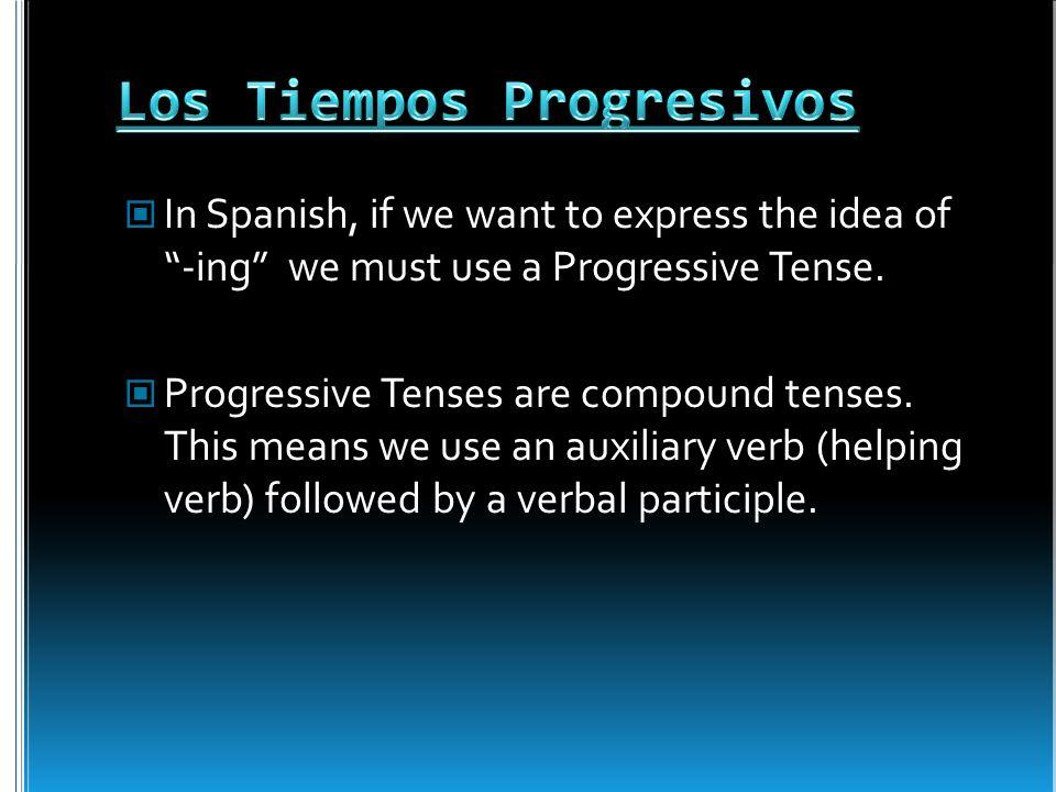 For a progressive tense.We will use a Present Participle (also called a gerund).