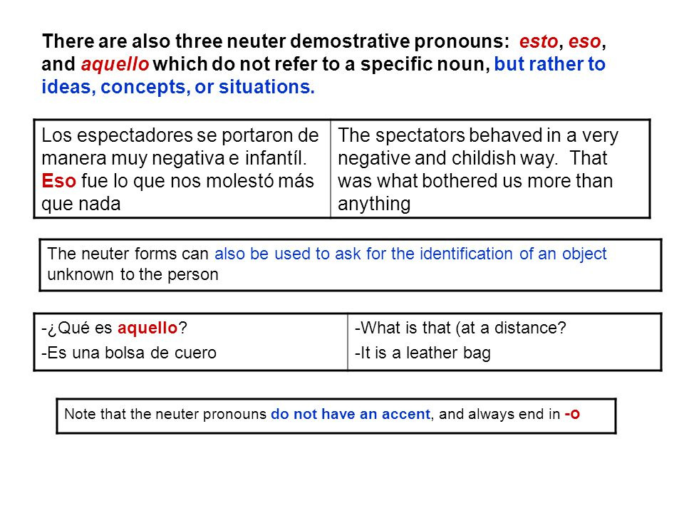 There are also three neuter demostrative pronouns: esto, eso, and aquello which do not refer to a specific noun, but rather to ideas, concepts, or situations.