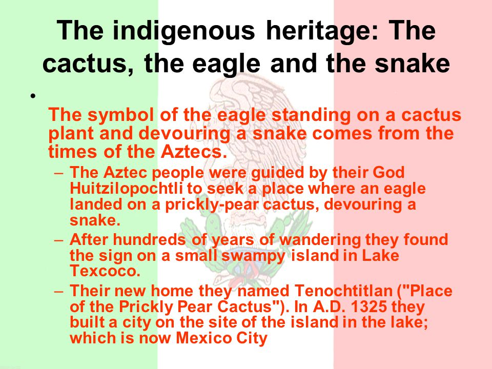 The indigenous heritage: The cactus, the eagle and the snake The symbol of the eagle standing on a cactus plant and devouring a snake comes from the t