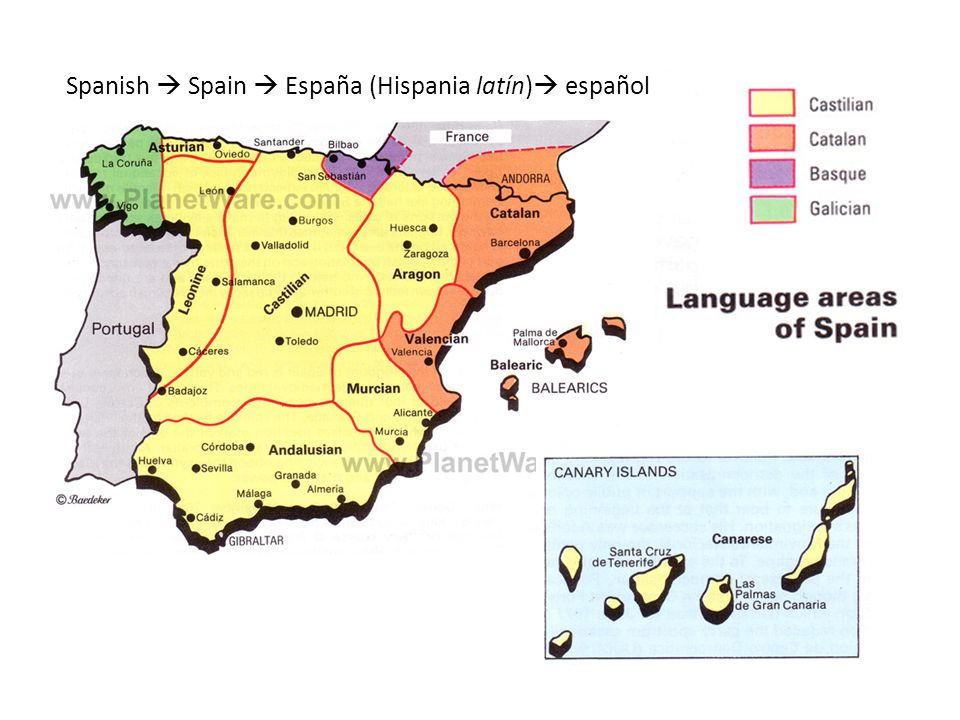 Spanish  Spain  España (Hispania latín)  español