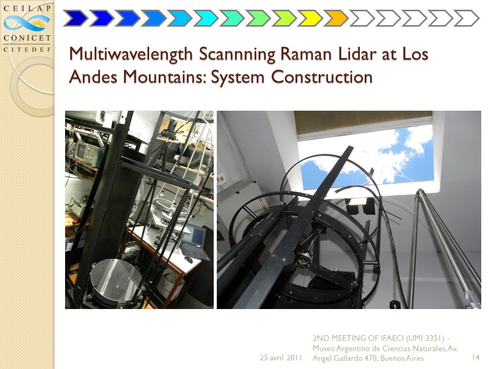 Multiwavelength Scannning Raman Lidar at Los Andes Mountains: System Construction 25 avril 2011 2ND MEETING OF IFAECI (UMI 3351) - Museo Argentino de Ciencias Naturales, Av.