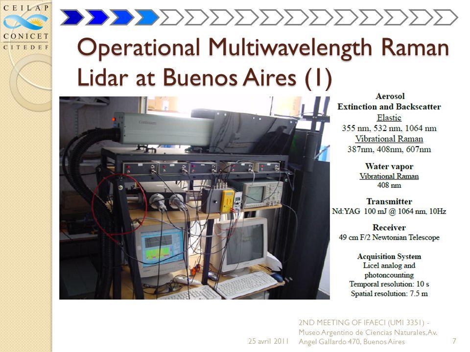 Operational Multiwavelength Raman Lidar at Buenos Aires (1) 25 avril 2011 2ND MEETING OF IFAECI (UMI 3351) - Museo Argentino de Ciencias Naturales, Av.