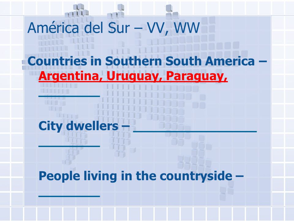 América del Sur – VV, WW Countries in Southern South America – Argentina, Uruguay, Paraguay, ________ City dwellers – ________________ ________ People living in the countryside – ________