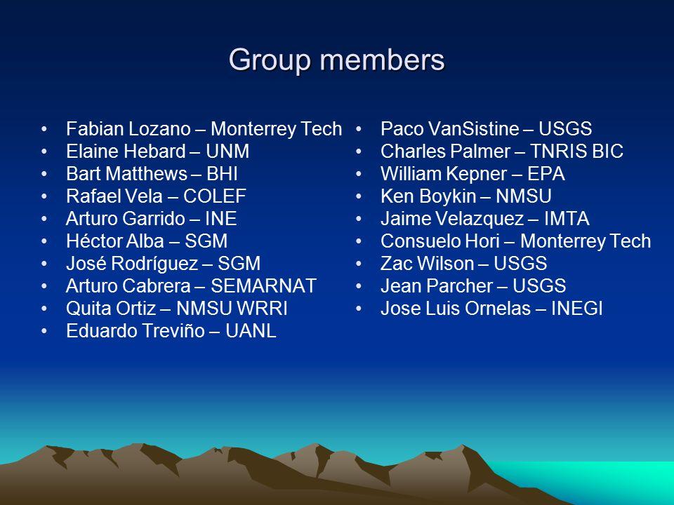 Group members Fabian Lozano – Monterrey Tech Elaine Hebard – UNM Bart Matthews – BHI Rafael Vela – COLEF Arturo Garrido – INE Héctor Alba – SGM José R