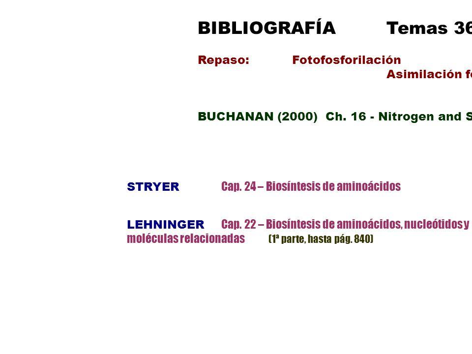 BIBLIOGRAFÍATemas 36-37 Repaso: Fotofosforilación Asimilación fotosintética de Carbono BUCHANAN (2000) Ch. 16 - Nitrogen and Sulfur Ch. 8 – Amino Acid