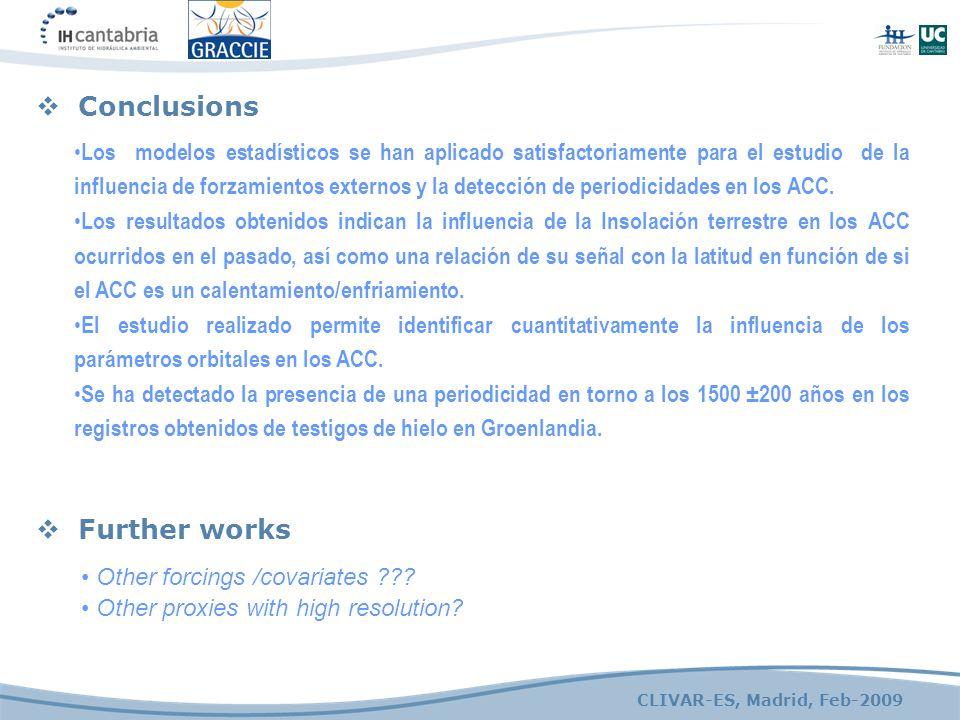 CLIVAR-ES, Madrid, Feb-2009  Conclusions  Further works Los modelos estadísticos se han aplicado satisfactoriamente para el estudio de la influencia