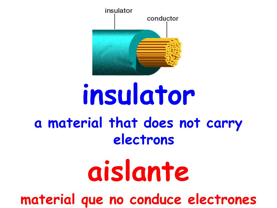 insulator a material that does not carry electrons aislante material que no conduce electrones