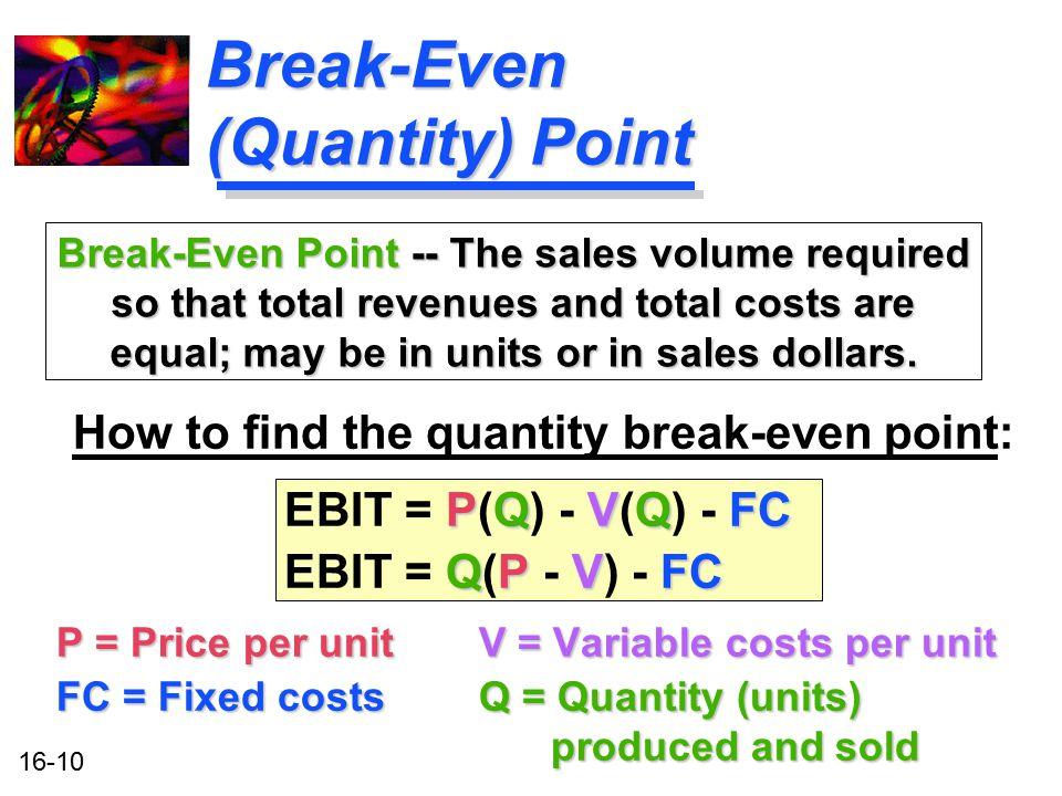 16-10 Break-Even (Quantity) Point How to find the quantity break-even point: PQVQFC EBIT = P(Q) - V(Q) - FC QPVFC EBIT = Q(P - V) - FC P = Price per u