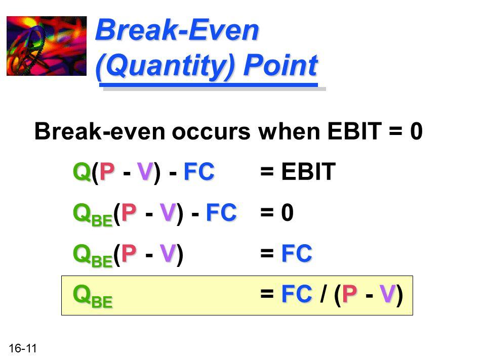 16-11 Break-Even (Quantity) Point Break-even occurs when EBIT = 0 QPVFC Q(P - V) - FC= EBIT Q BE PVFC Q BE (P - V) - FC = 0 Q BE PVFC Q BE (P - V) = F