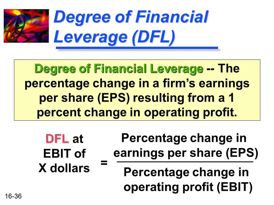 16-36 Degree of Financial Leverage (DFL) DFL DFL at EBIT of X dollars Degree of Financial Leverage Degree of Financial Leverage -- The percentage chan