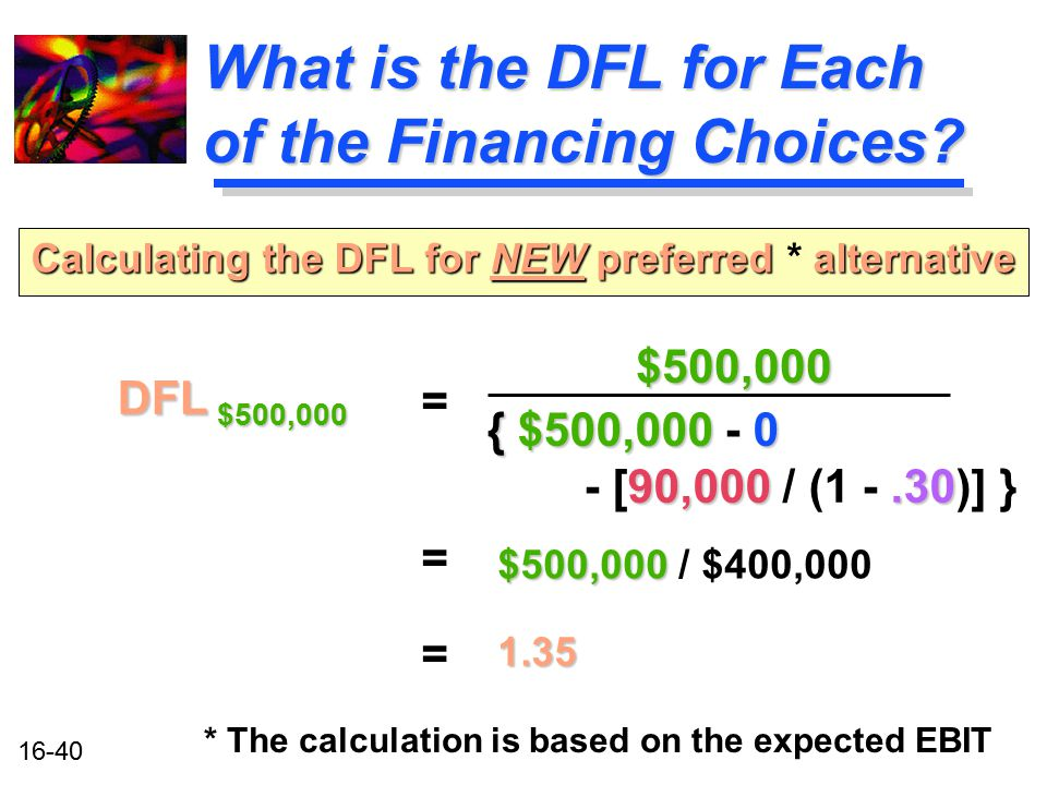 16-40 What is the DFL for Each of the Financing Choices? DFL $500,000 Calculating the DFL for NEW preferred alternative Calculating the DFL for NEW pr