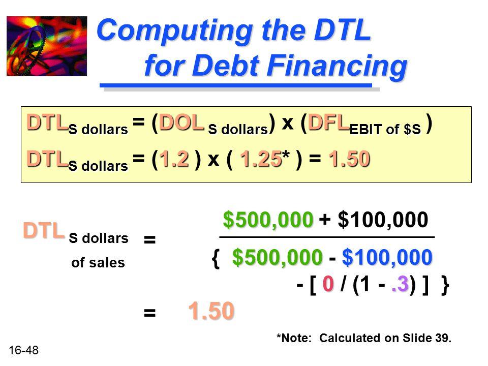 16-48 Computing the DTL for Debt Financing DTL DTL S dollars of sales = $500,000 $500,000 + $100,000 $500,000 $100,000 { $500,000 - $100,000 0.3 - [ 0