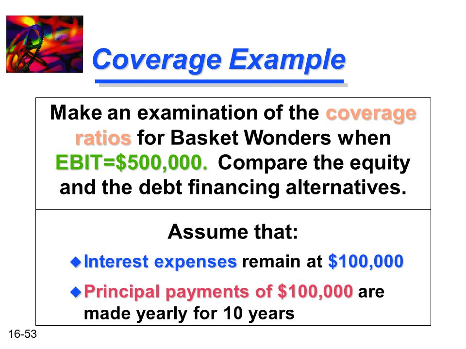 16-53 Coverage Example coverage ratios EBIT=$500,000. Make an examination of the coverage ratios for Basket Wonders when EBIT=$500,000. Compare the eq