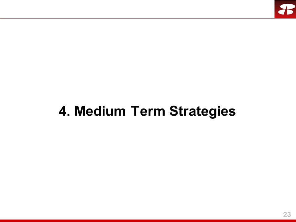 23 4. Medium Term Strategies
