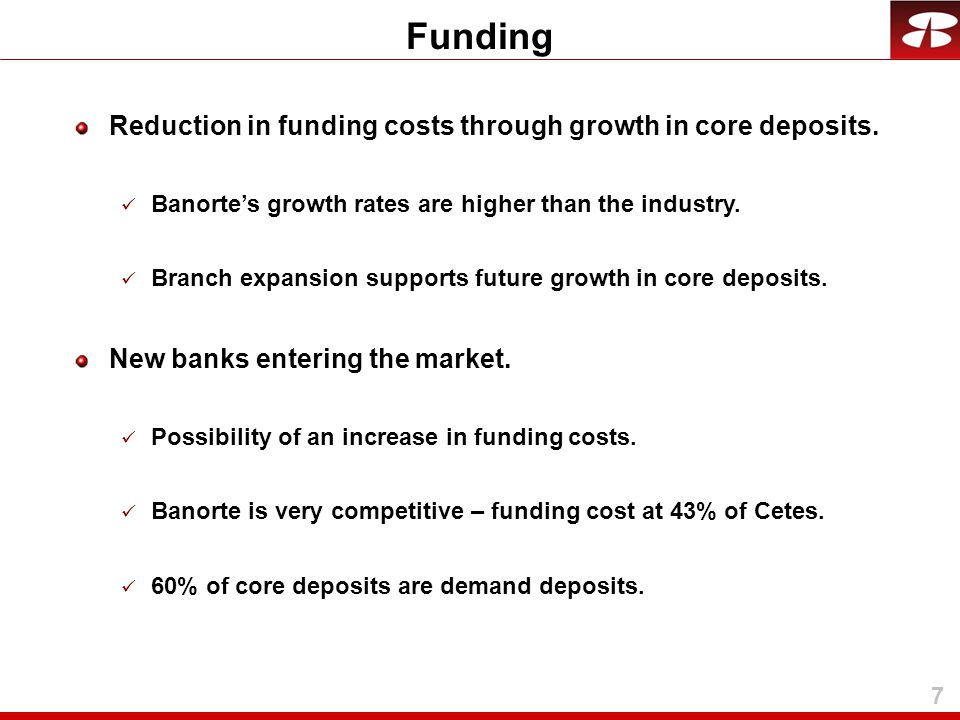 8 Short term & long term market funding.Access according to market conditions.