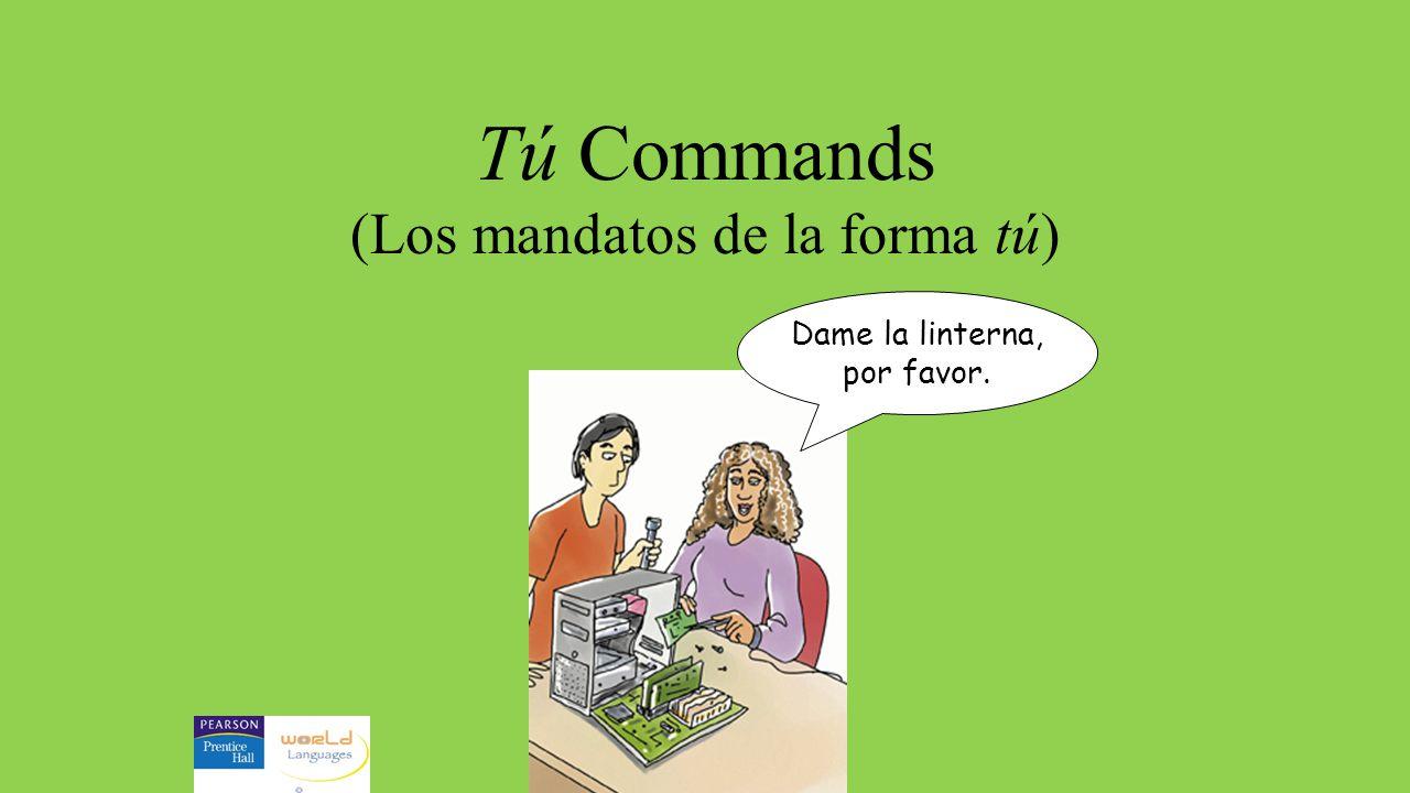 For regular affirmative commands...1.Put the verb in the tú form (ar-as) (er-es) (ir-es) 2.