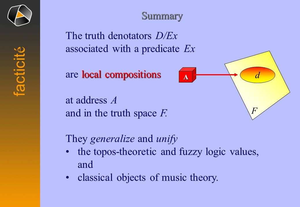 The truth denotators D/Ex associated with a predicate Ex local compositions are local compositions at address A and in the truth space F.