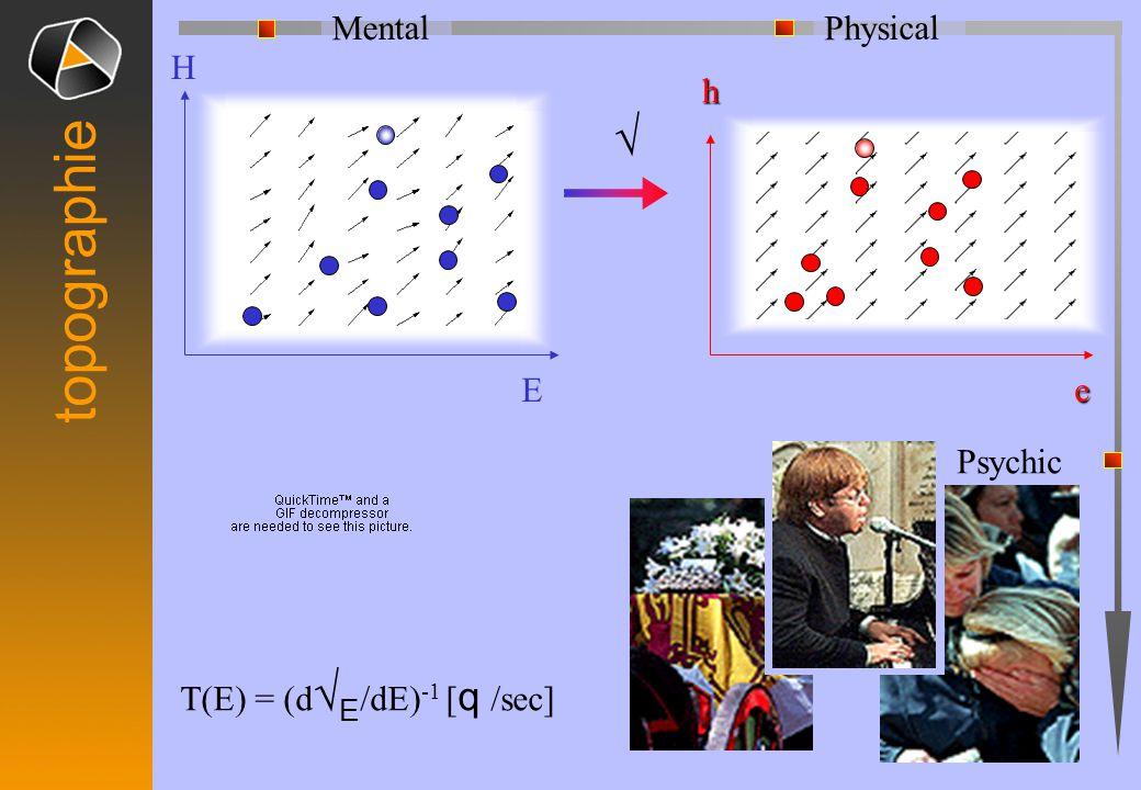 √ H E h e T(E) = (d √ E /dE) -1 [ q /sec] Physical Mental topographie Psychic