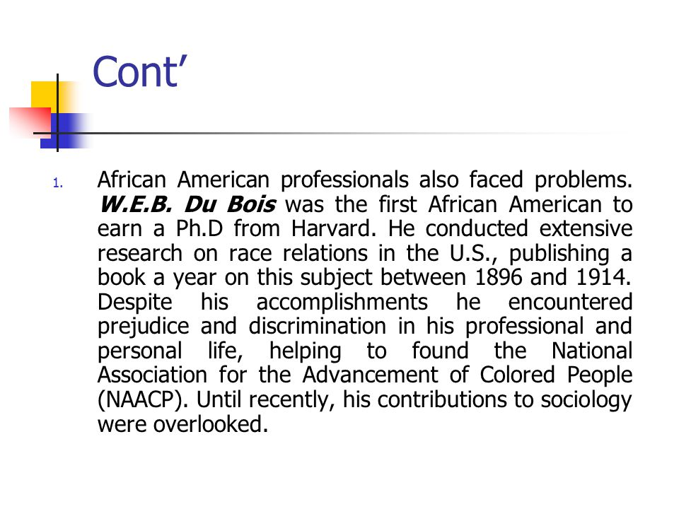 Cont' 1.African American professionals also faced problems.