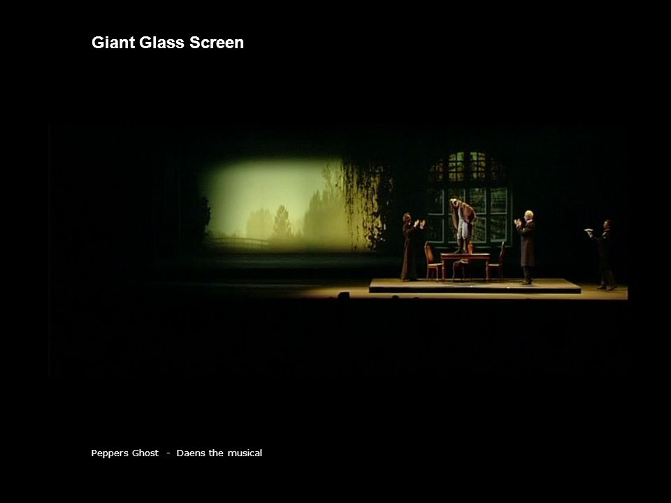 Giant Glass Screen Peppers Ghost - Daens the musical Film fragmenten Daens