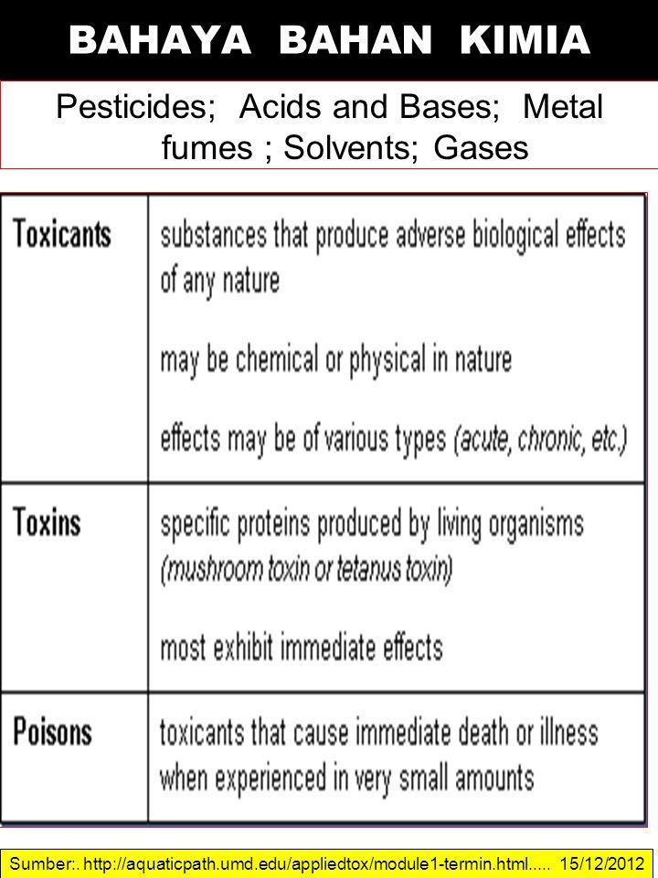 Pesticides; Acids and Bases; Metal fumes ; Solvents; Gases BAHAYA BAHAN KIMIA Sumber:. http://aquaticpath.umd.edu/appliedtox/module1-termin.html.....