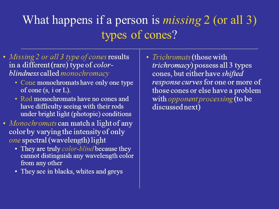 What happens if a person is missing one type of cone.