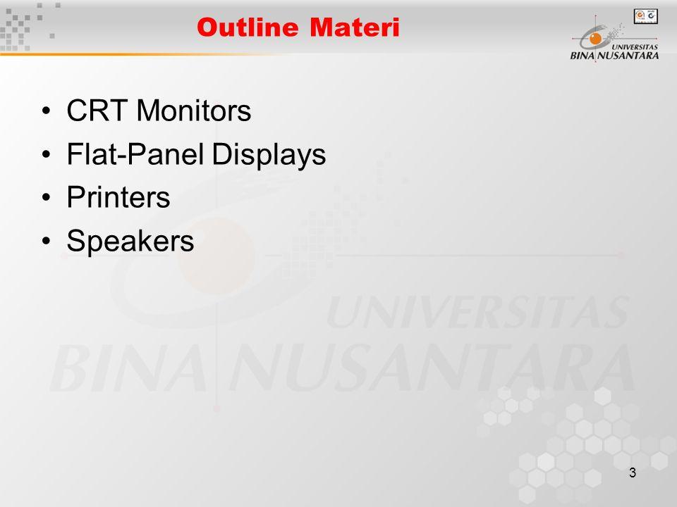3 Outline Materi CRT Monitors Flat-Panel Displays Printers Speakers