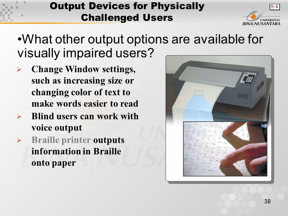 38 Output Devices for Physically Challenged Users What other output options are available for visually impaired users.