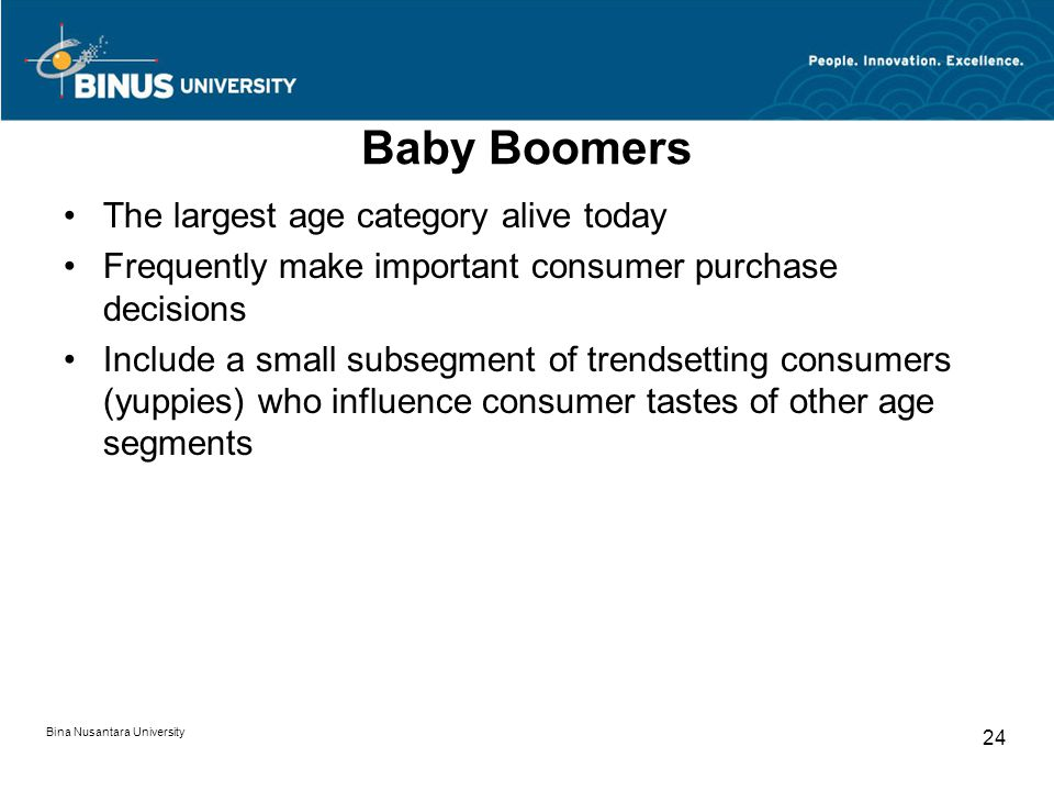 Bina Nusantara University 24 Baby Boomers The largest age category alive today Frequently make important consumer purchase decisions Include a small s