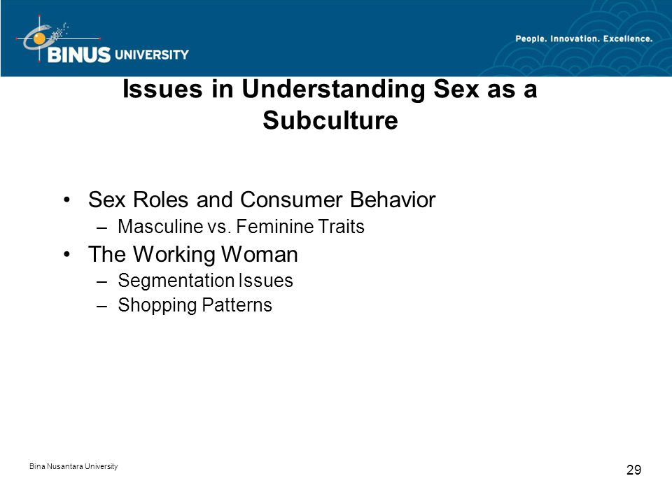 Bina Nusantara University 29 Issues in Understanding Sex as a Subculture Sex Roles and Consumer Behavior –Masculine vs. Feminine Traits The Working Wo