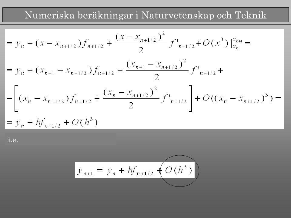 Numeriska beräkningar i Naturvetenskap och Teknik i.e.