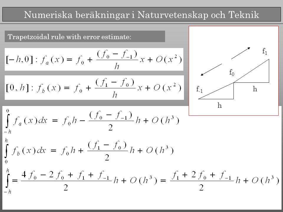Numeriska beräkningar i Naturvetenskap och Teknik Trapetzoidal rule with error estimate: f -1 f0f0 f1f1 h h